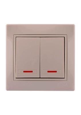 Выключатель 2 СП/lezard/крем./подсветка/701-0303-112/