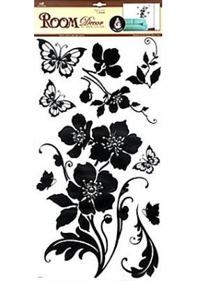 Наклейка 5625 /цветы графика со стразами/