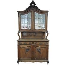 Витрина антикварная с зеркалом Франция 19 век/140х55х265/массив дуба