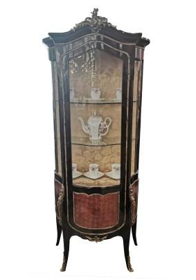 Витрина антикварная стиль Ренесс Франция начало 19 века/массив красное дерево/инкрустация бронза