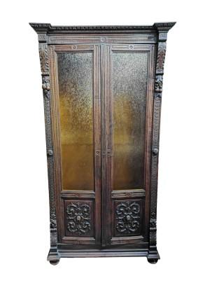 Шкаф антикварный книжный Западная Европа начало 19 века/86х52х168/массив дуба