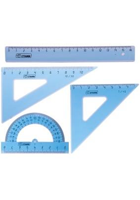 Набор чертежный малый /треуг.2шт, транс-р, лин.16см/256256/083868