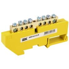 Шина нулевая на DIN-изол. ШНИ-6х9-8-Д-Ж/IEK желт.