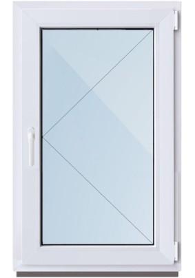 Окно ПВХ-58мм/ 1- стеклопакет/ ШхВ 500х600мм/ 100% правое поворотное/