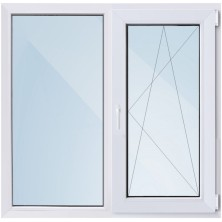 Окно ПВХ-58мм/ 1- стеклопакет/ШхВ 1300х1400мм/ 50% правое поворотно откидное/
