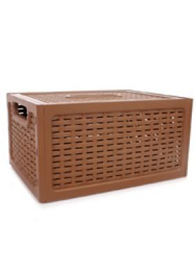 Ящик пластмассовый Ротанг с крышкой 370х280х190мм М2375
