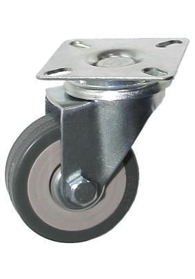 Колесо d50мм поворотное на площадке серая резина/нагрузка 35кг/