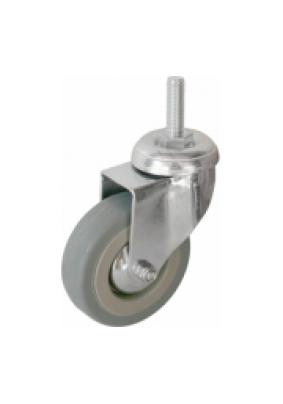 Колесо d75мм поворотное на штыре М10 серая резина/нагрузка 45кг/