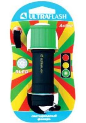 Фонарь ручной Ultraflash 15001-С/зеленый с черн., 9LED, 3xAAA
