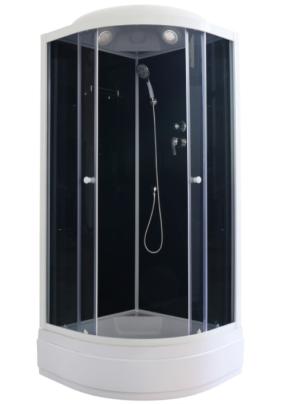 Кабина душевая 100*100*215 Parly CM101 (CM100)  поддон средний, полочка, заднее чёрное стекло