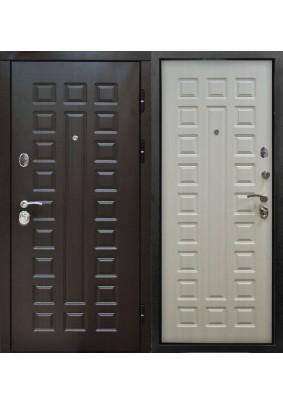 Дверь металлическая входная Сенатор 2К винорит венге /белая лиственница 2050х960/правая