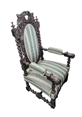 Кресло антикварное /обивка ткань/дуб/Франция конец 19 века