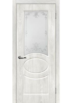 Полотно ДО Сиена-1 800 х 2000/ дуб жемчужный / контур серебро