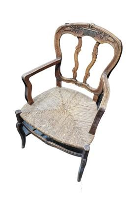 Кресло антикварное / сидение ротанг/Бельгия начало 20 века