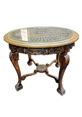 Столик антикварный со стеклом и ротангом