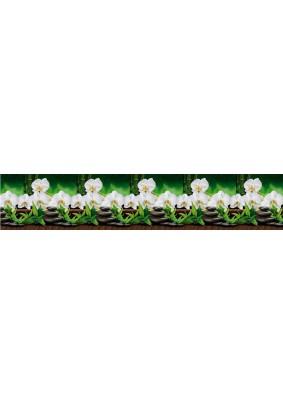 Панель ABS /2.0х0.6х0.0015м/Фартук Орхидеи белые