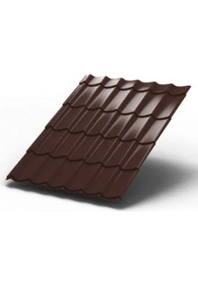 Металлочерепица Монтеррей 3650 х1190х0,45/ RAL 8017/ Шоколад/ Стандарт