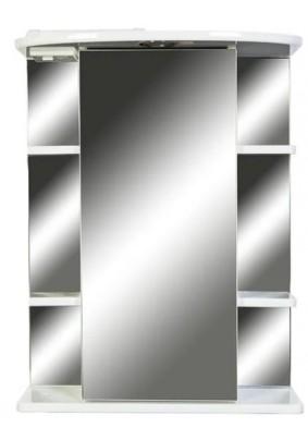 Зеркальный шкаф O-mebel Кларис 55 правый, внешние полки, галоген, белый KI-55ZSW