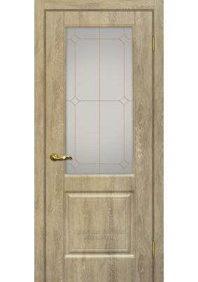 Дверное полотно ДО Версаль -1  800 х 2000/ Дуб песочный/ контур.золото