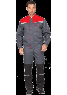 Костюм КМ-10 Люкс,серый-красный/52-54,рост182-188