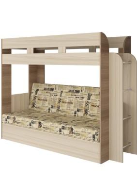 Кровать+Диван Карамель75 (ткань: скотчгард газета)