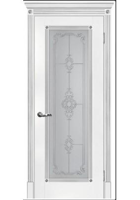 Дверное полотно ДО Флоренция-1 700 х 2000/ Белый патина серебро/ ст.сатинат