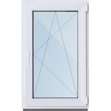 Окно ПВХ-58мм/ 1- стеклопакет/ШхВ 600х1000/ правое поворотно откидное/