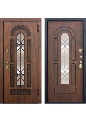 Дверь металлическая Vikont винорит грецкий орех/грецкий орех/2050х1200/правая