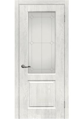 Дверное полотно ДО Версаль -1  700 х 2000/ Дуб жемчужный/ контур.серебро