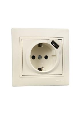 Розетка 1 СП/Lezard/крем/с/з/+ USB/701-0303-181/