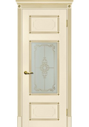 Дверное полотно ДГ Флоренция-3 800 х 2000/ Магнолия/ Патина золото