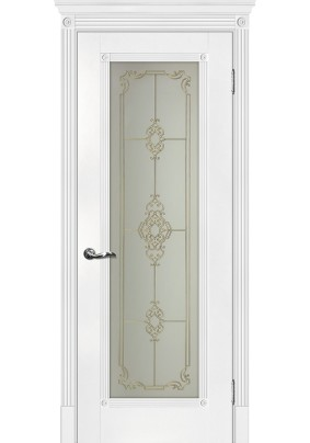 Дверное полотно ДО Флоренция-1 800 х 2000/ Белый патина серебро/ ст.сатинат
