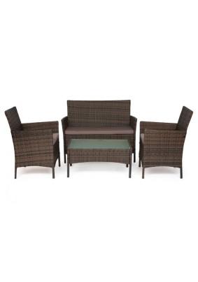 Лаундж сет (диван+2 кресла+столик+подушки) 210013 А цвет: темно-коричневый, ткань DB-18 серый