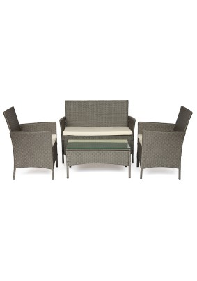 Лаундж сет (диван+2 кресла+столик+подушки) 210013 А цвет: серый, ткань: DB-11 светло-серый