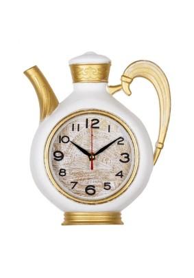 """Часы настенные чайник 2622-002 26,5х24см, корпус белый с золотом """"Классика"""" """"Рубин"""""""