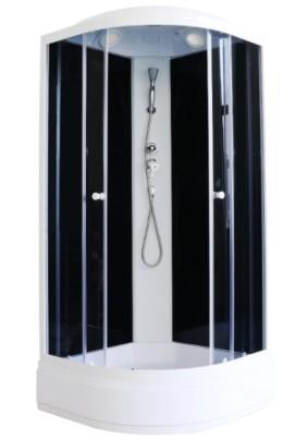 Кабина душевая 90х90х215 Parly ЕСМ92,тон. стекло/поддон средний/зад. стенка чёрное стекло/без г/м