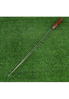 Шампур-спица двойной с деревянной ручкой 50см