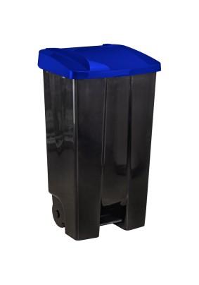 Бак для мусора с крышкой с педалью синий 110л 301339