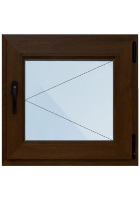 Окно лам. ПВХ-58мм/ Темный дуб/ 1- стеклопакет/ ШхВ 500х600мм/ 100% правое поворотное/