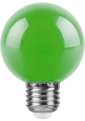 Лампа светодиод. 3Вт Feron G60 Е27 зеленая