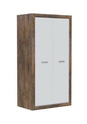 Шкаф для платья и белья ШР-2 БЕРГАМО  (Таксус/Орех лесной, белый 1034х600х1975)