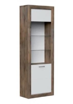 Шкаф с витриной 1-дв БЕРГАМО (Таксус/Орех лесной, белый 684х337х1970)
