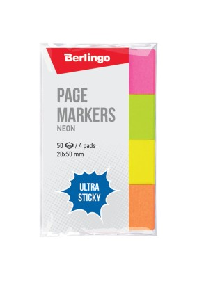 "Флажки-закладки Berlingo ""Ultra Sticky"" /20*50мм/50л*4 цв/287197/"