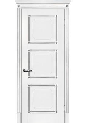 Дверное полотно ДГ Флоренция-4 600 х 2000/ Белый/патина серебро/