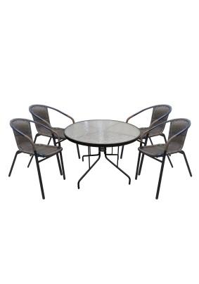 Комплект мебели Марсель (4 кресла+стол Ø100 см) цвет: коричневый/чёрный