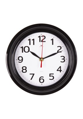 """Часы настенные 2121-010B круг d=21см, корпус черный """"Классика"""" """"Рубин"""""""
