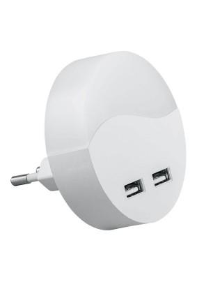 Светильник-ночник c USB выходами FN1122 0,45W 230V круг, белый Feron