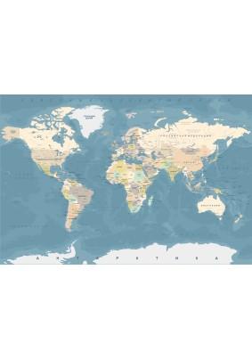 Декоративное панно Fresco Карта мира 071056-4/ 4,0м х 2,0м фактура винил Россия