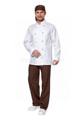 Костюм Поварской белый/шоколад (52-54 рост 170-176)/пов 502