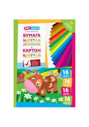 Набор цветного картона/16цв./16л/А4/290882